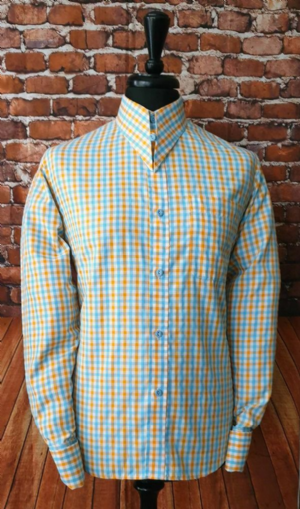 """Mason"" Sky Blue & Orange Check Long Sleeve Shirt"